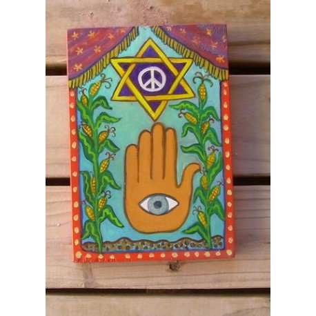 Peace Star with Hamsa 8 in. x 5 1/2 in oil on pine